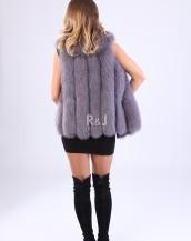 Fox fur vest Grey-Purple 75cm