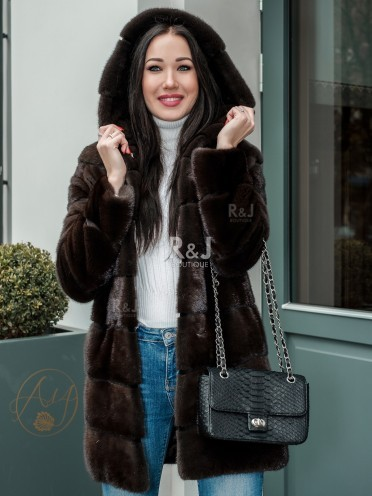 Mink fur coat with hood