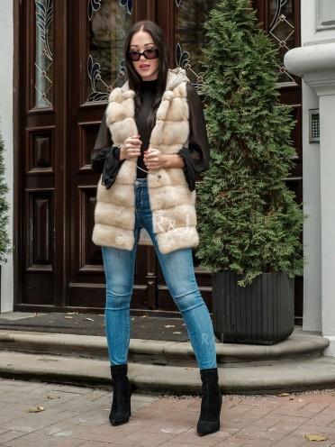Mink vest with hood