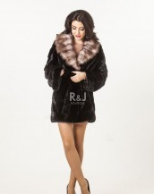 MINK COAT WITH MARTEN COLLAR, 75CM
