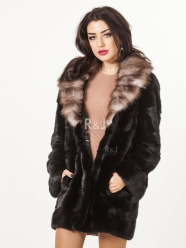 Mink coat with marten collar